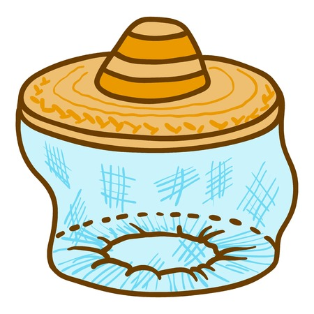 Beekeeper face protect hat icon. Hand drawn illustration of beekeeper face protect hat vector icon for web design