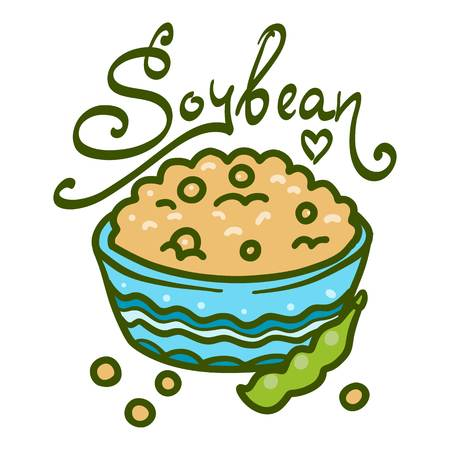 Bowl of soybean icon. Hand drawn illustration of bowl of soybean vector icon for web design