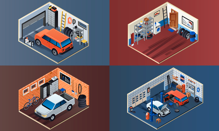 Garage interior banner set. Isometric set of garage interior vector banner for web design Çizim