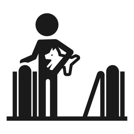 Person with dog escalator icon. Simple illustration of person with dog escalator vector icon for web design isolated on white background