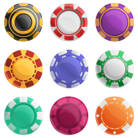 Casino chips icons set. Cartoon set of casino chips vector icons for web design