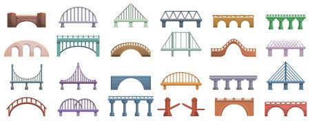 Ensemble d'icônes de ponts. Ensemble de dessins animés d'icônes vectorielles de ponts pour la conception de sites Web