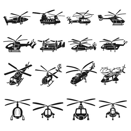 Helicopter icons set. Simple set of helicopter vector icons for web design on white background Illustration