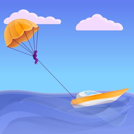 Parasailing concept banner. Cartoon illustration of parasailing vector concept banner for web design Illustration
