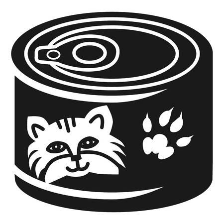 Cat food aluminum can icon. Simple illustration of cat food aluminum can vector icon for web design isolated on white background Illustration
