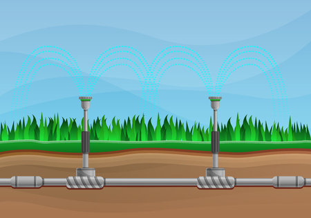 Irrigation system concept banner. Cartoon illustration of irrigation system vector concept banner for web design