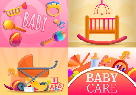Care baby items banner set. Cartoon illustration of care baby items vector banner set for web design Illustration