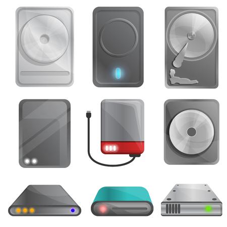 Hard disk icons set. Cartoon set of hard disk vector icons for web design