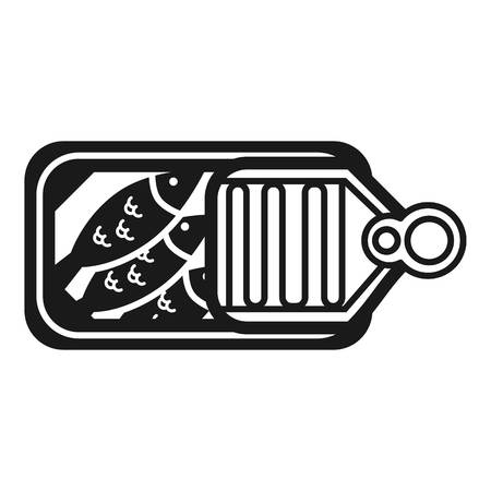 Canned sardines open icon. Simple illustration of canned sardines open vector icon for web design isolated on white background