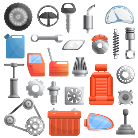 Car parts icons set. Cartoon set of car parts vector icons for web design