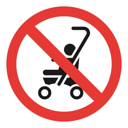 No baby carriage icon. Simple illustration of no baby carriage vector icon for web design isolated on white background  イラスト・ベクター素材