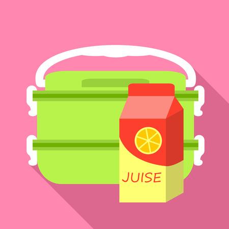 Plastic green lunchbox icon. Flat illustration of plastic green lunchbox vector icon for web design