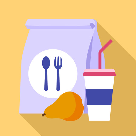Paper lunch bag icon. Flat illustration of paper lunch bag vector icon for web design