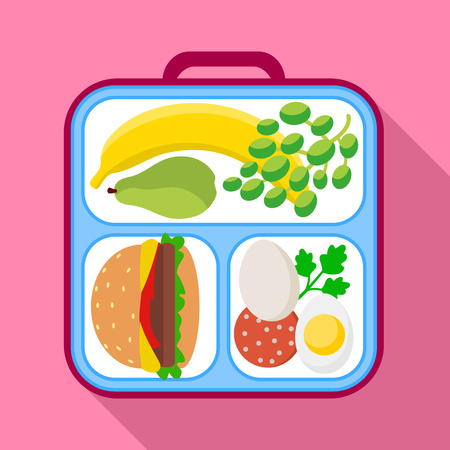 Healthy lunch bag icon. Flat illustration of healthy lunch bag vector icon for web design