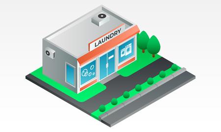 Street laundry shop banner. Isometric illustration of street laundry shop vector banner for web design