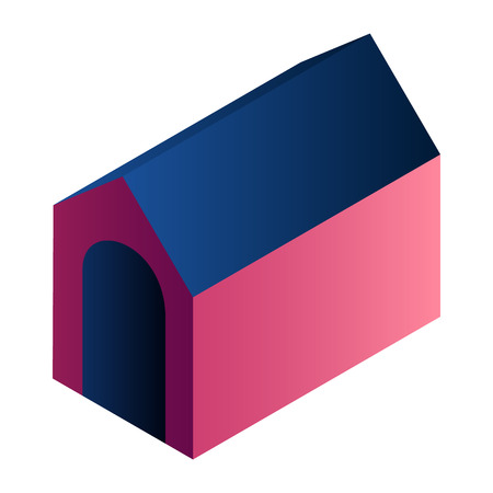 Dog house icon. Isometric of dog house vector icon for web design isolated on white background Illustration