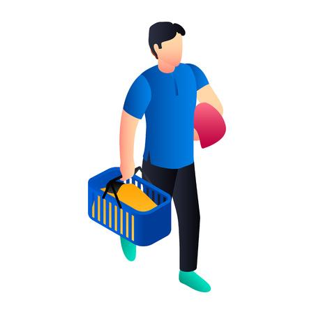 Laundry man basket icon. Isometric of laundry man basket vector icon for web design isolated on white background Vektorové ilustrace
