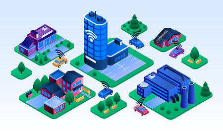 Intelligent city building banner. Isometric illustration of intelligent city building vector banner for web design Illustration