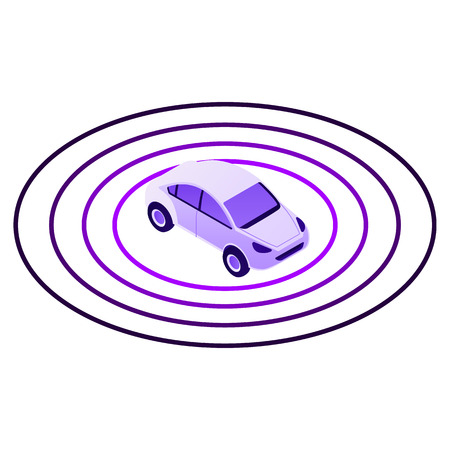 Smart car sensor zone icon. Isometric of smart car sensor zone vector icon for web design isolated on white background