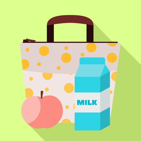 Lunch bag milk icon. Flat illustration of lunch bag milk vector icon for web design
