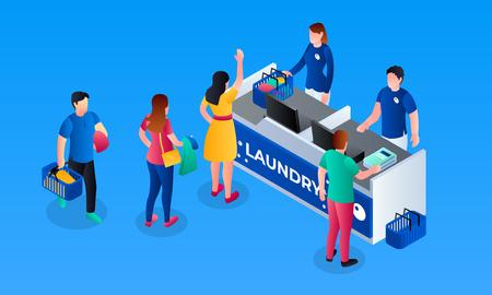 Laundry cashier desk banner. Isometric illustration of laundry cashier desk vector banner for web design