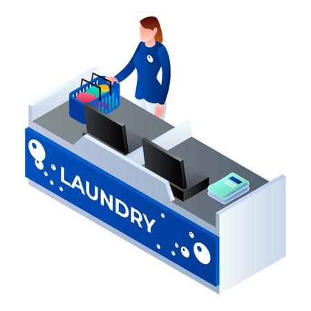 Laundry cashier woman icon. Isometric of laundry cashier woman vector icon for web design isolated on white background
