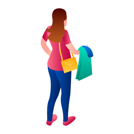 Woman at laundry icon. Isometric of woman at laundry vector icon for web design isolated on white background
