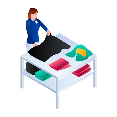 Wäscheservice-Symbol für Wäscheservice. Isometrische Wäscherei arrangieren Kleidungsservice-Vektorsymbol für Webdesign isoliert auf weißem Hintergrund