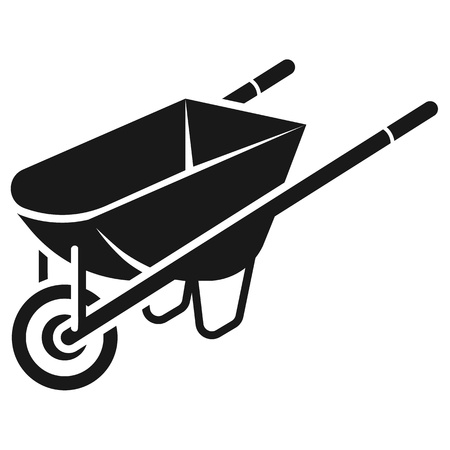 Construction wheelbarrow icon. Simple illustration of construction wheelbarrow vector icon for web design isolated on white background
