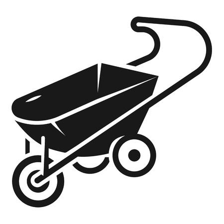 Metal wheelbarrow icon. Simple illustration of metal wheelbarrow vector icon for web design isolated on white background Ilustrace