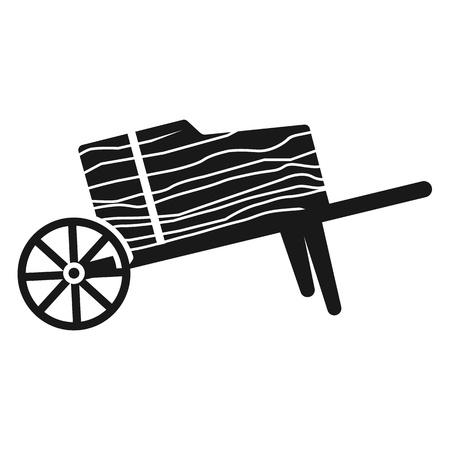 Wood wheelbarrow icon. Simple illustration of wood wheelbarrow vector icon for web design isolated on white background
