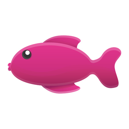 Purple fish icon. Cartoon of purple fish vector icon for web design isolated on white background