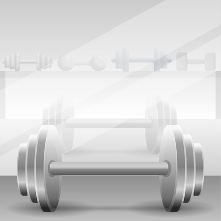 Metal dumbbell concept background. Cartoon illustration of metal dumbbell vector concept background for web design Stock Vector - 124966030