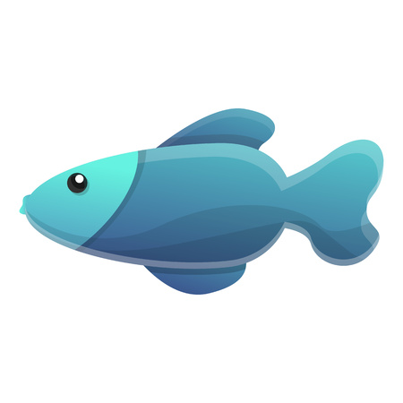 Blue exotic fish icon. Cartoon of blue exotic fish vector icon for web design isolated on white background