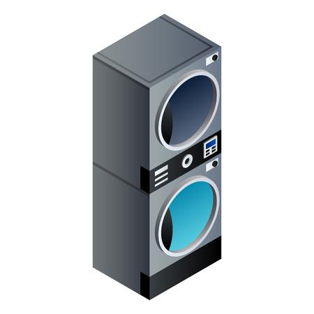 Laundry wash machine stack icon. Isometric of laundry wash machine stack vector icon for web design isolated on white background