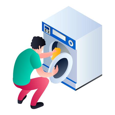 Man take clothes wash machine icon. Isometric of man take clothes wash machine vector icon for web design isolated on white background