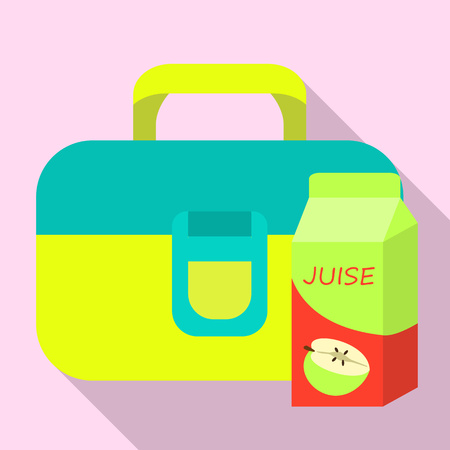 Juice lunch bag icon. Flat illustration of juice lunch bag vector icon for web design Ilustracja