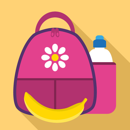 Girl lunch backpack icon. Flat illustration of girl lunch backpack vector icon for web design