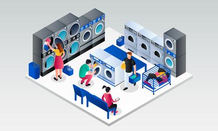 Modern laundry room banner. Isometric illustration of modern laundry room vector banner for web design