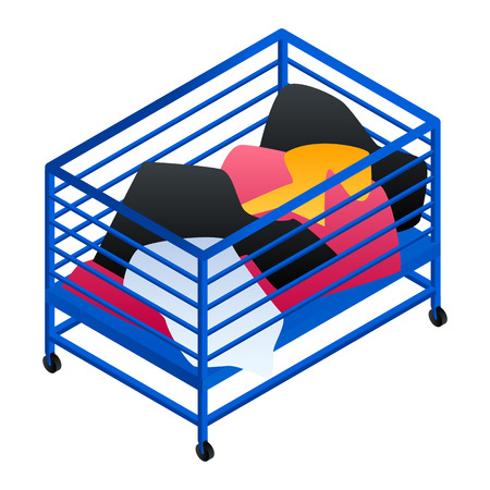 Dirty clothes cart basket icon. Isometric of dirty clothes cart basket vector icon for web design isolated on white background Zdjęcie Seryjne - 124966051