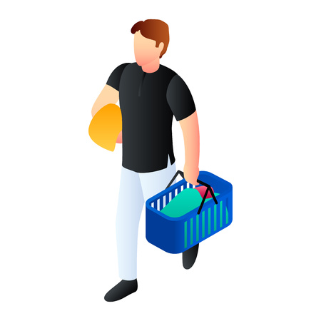 Man goes to laundry icon. Isometric of man goes to laundry vector icon for web design isolated on white background Zdjęcie Seryjne - 124966053