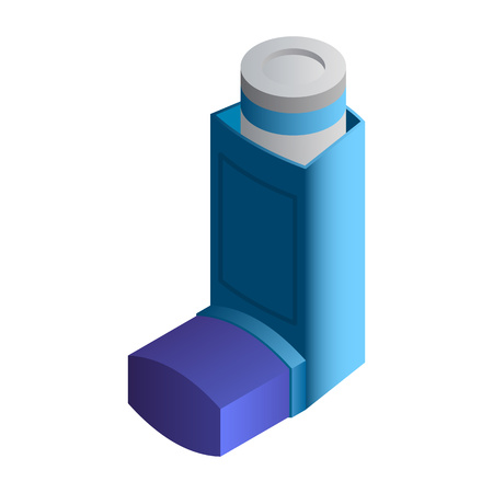 Asthma inhaler icon. Isometric of asthma inhaler vector icon for web design isolated on white background Ilustracja