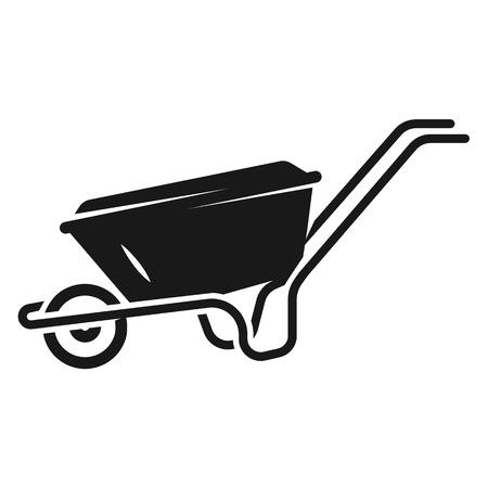 Farm wheelbarrow icon. Simple illustration of farm wheelbarrow vector icon for web design isolated on white background