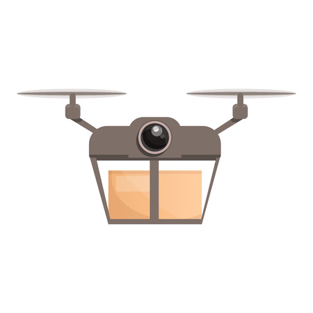 Drone parcel delivery icon. Cartoon of drone parcel delivery vector icon for web design isolated on white background