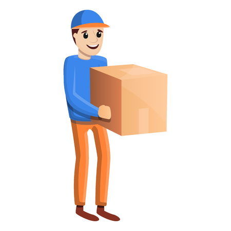 Parcel home delivery icon. Cartoon of parcel home delivery vector icon for web design isolated on white background Zdjęcie Seryjne - 124966065