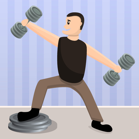 Home dumbbell training concept background. Cartoon illustration of home dumbbell training vector concept background for web design