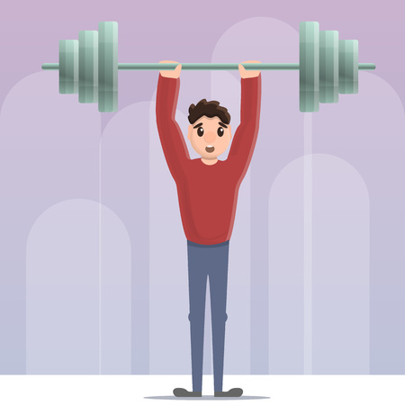 Sportsman dumbbell up concept background. Cartoon illustration of sportsman dumbbell up vector concept background for web design