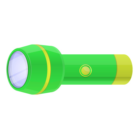 Green flashlight icon. Cartoon of green flashlight vector icon for web design isolated on white background