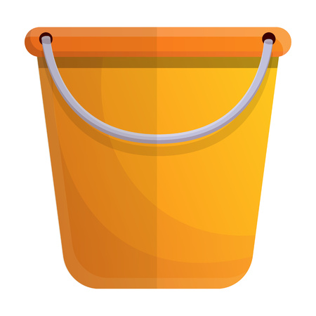 Yellow bucket icon. Cartoon of yellow bucket vector icon for web design isolated on white background
