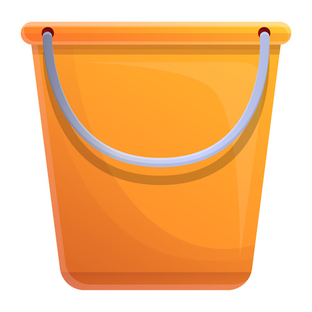 Plastic bucket icon. Cartoon of plastic bucket vector icon for web design isolated on white background